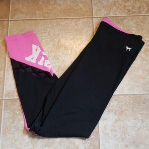 Victorias Secret RARE Black & Pink Mesh Leggings